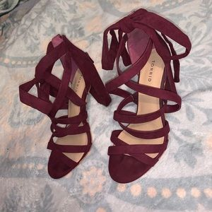 Burgundy Strappy Lace-Up Heel Sandal